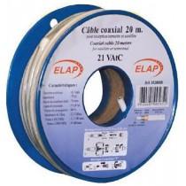Bobine plastique de 10 m câble coaxial 21VAtC - Blanc
