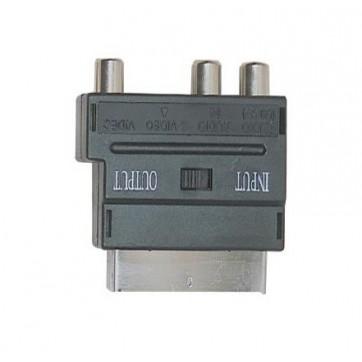 Adaptateur péritel / 3 RCA femelles + SVHS femelle avec commutateur E/S