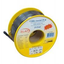 Bobine de câble coaxial 19 PAtC - Noir - 25 m